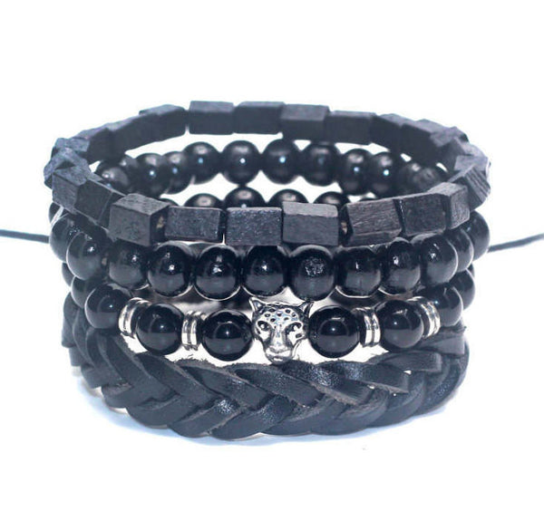 4 PC BRACELET STACK! Silver Cheetah Charm - Galaxy Accessories