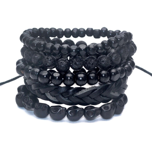 5 PC BRACELET STACK! Blackout Lava Stone - Galaxy Accessories