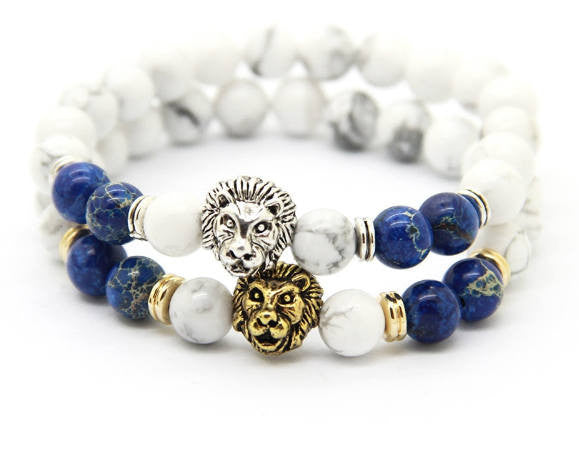 2 PC SET! Lion Bracelets - Silver and Gold (Blue) - Galaxy Accessories