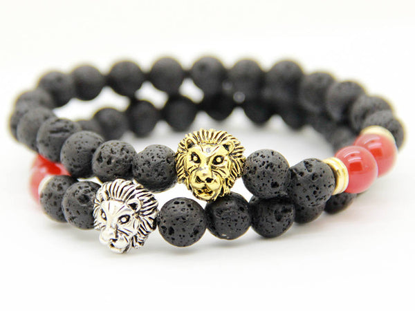 2 PC SET! Lion Bracelets - Silver and Gold (Red) - Galaxy Accessories