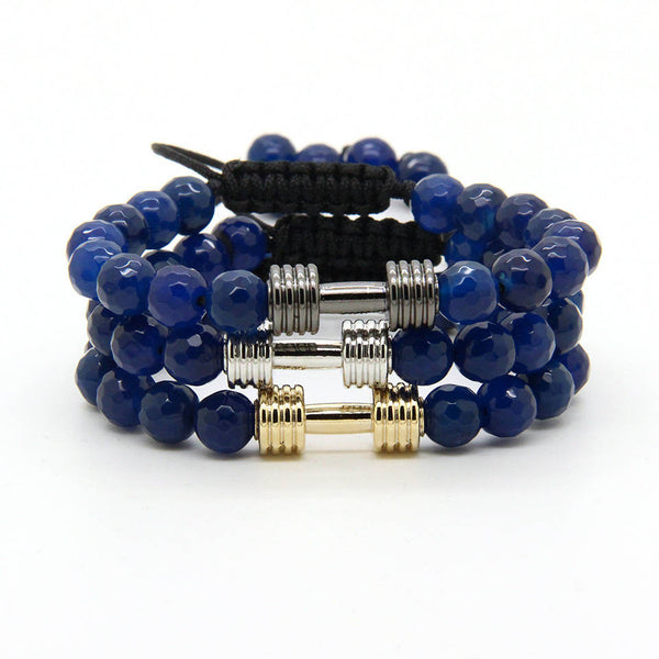 GAINS *Adjustable* Dumbbell Bracelet 3 PC STACK - Deep Blue - Galaxy Accessories