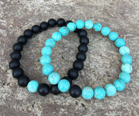 2 PC SET! Distance Bracelets - Turquoise and Black - Galaxy Accessories