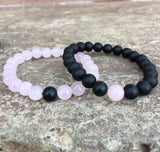 2 PC SET! Distance Bracelets - Pink and Black - Galaxy Accessories