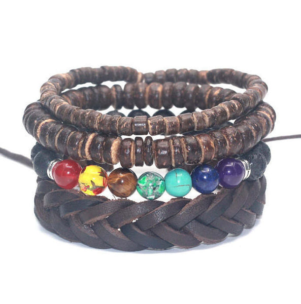 4 PC BRACELET STACK! Natural Colors Brown - Galaxy Accessories