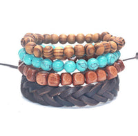 4 PC BRACELET STACK! Turquoise and Wood - Galaxy Accessories