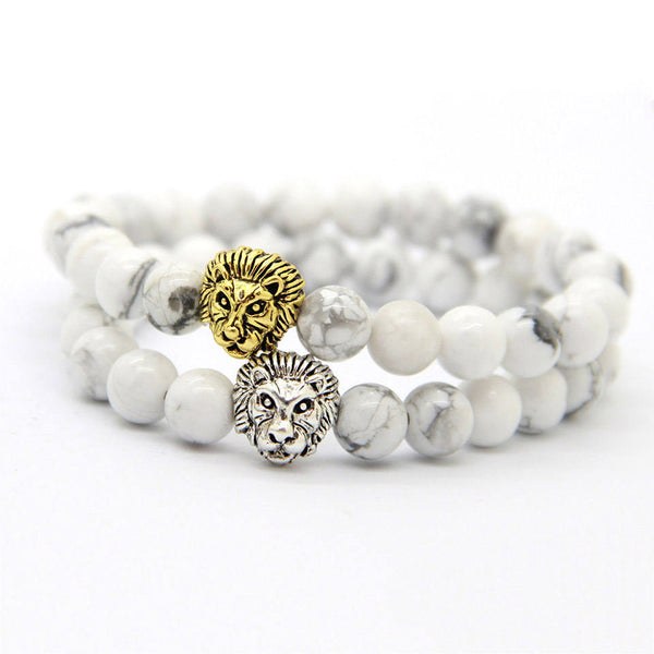 2 PC SET! Lion Bracelets - Silver and Gold (Howlite) - Galaxy Accessories