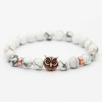 Rose Gold White Howlite Owl Bracelet - Galaxy Accessories