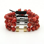 GAINS *Adjustable* Dumbbell Bracelet 3 PC STACK - Fire Red - Galaxy Accessories