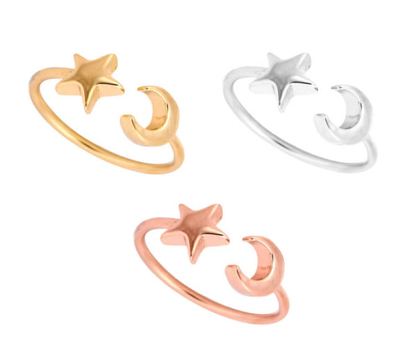 Adjustable Star and Crescent Ring - Galaxy Accessories