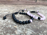 Adjustable Pink Distance Bracelets Set - Galaxy Accessories