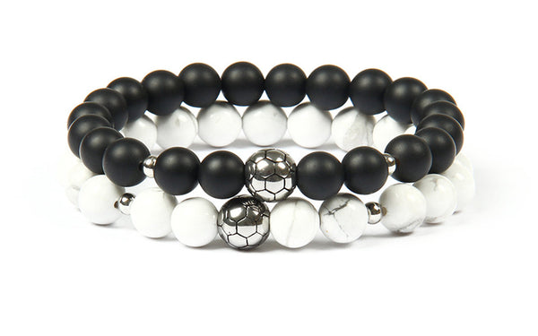 Soccer Bracelets Set - Black And White Matching Pair - Galaxy Accessories