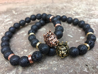 2 PC SET! King and Queen Lion Bracelets - Galaxy Accessories