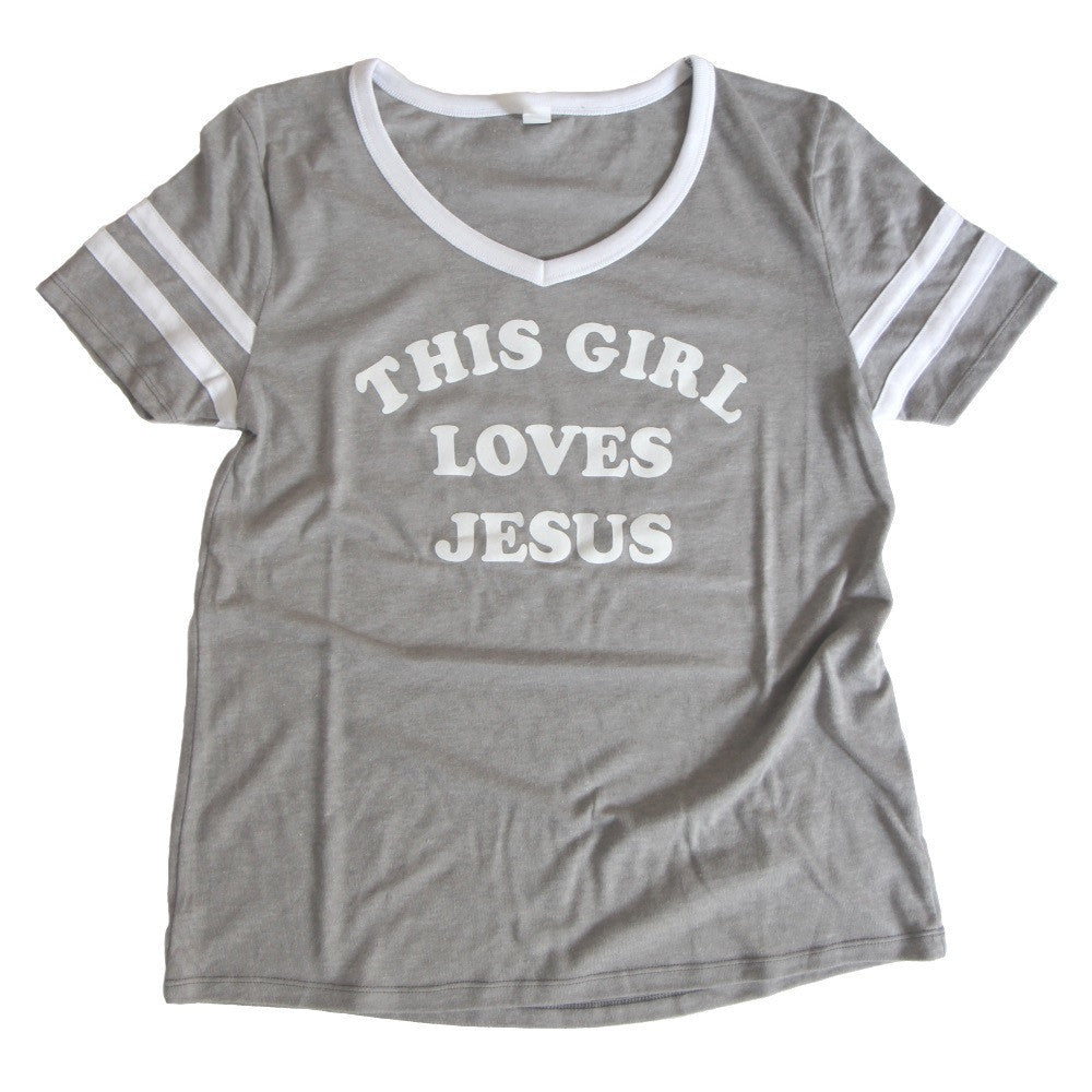 THIS GIRL LOVES JESUS WOMEN'S FOOTBALL STYLE TEE - FINAL SALE