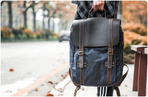 leather canvas backpack 71102-1