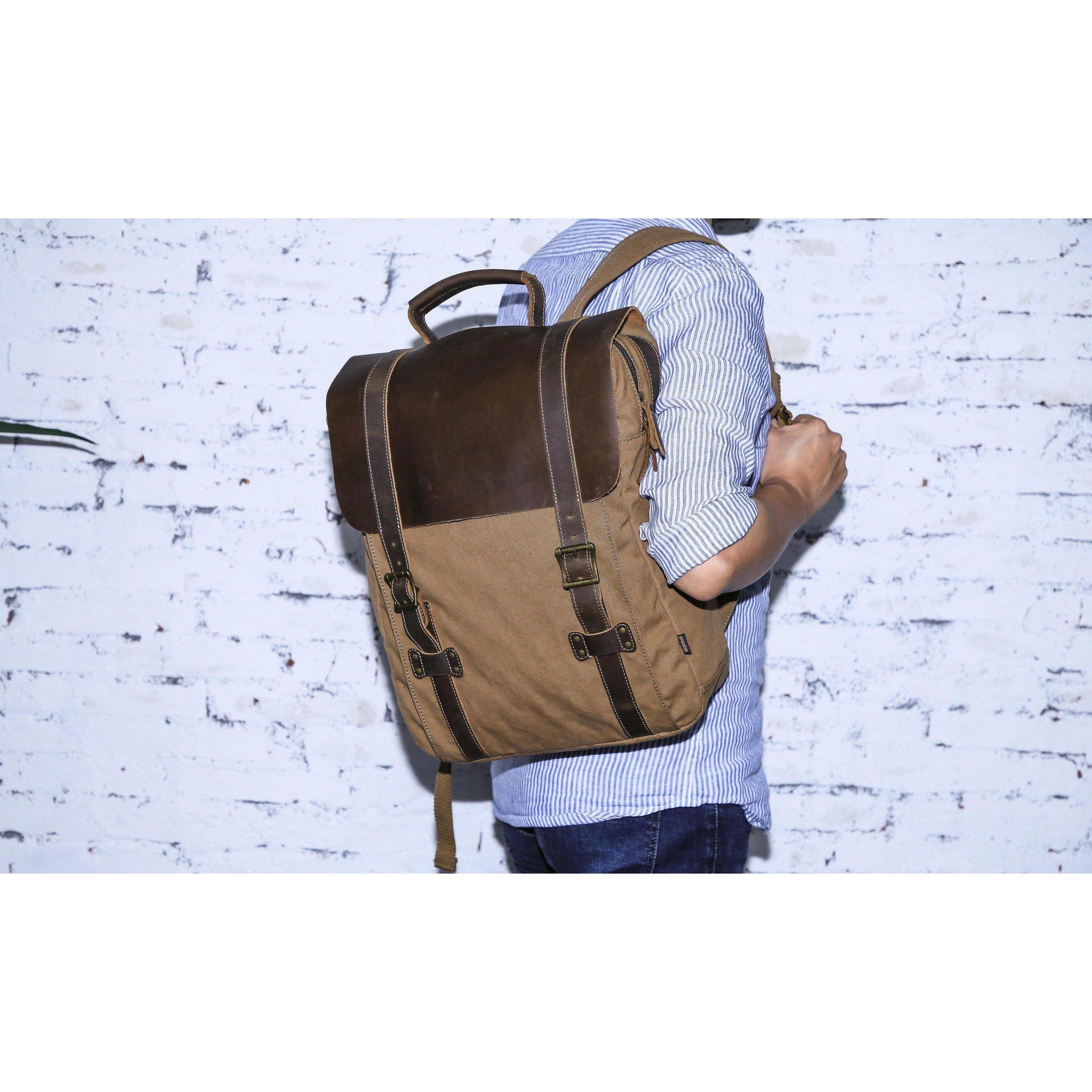 fc520065 Leather Canvas Backpack #71102