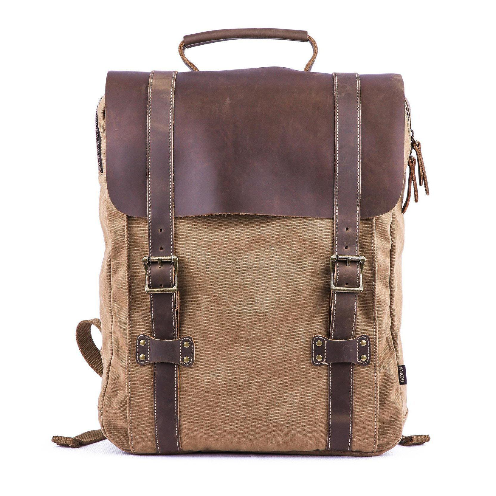 66eb66b0ff2 Leather Canvas Backpack  71102
