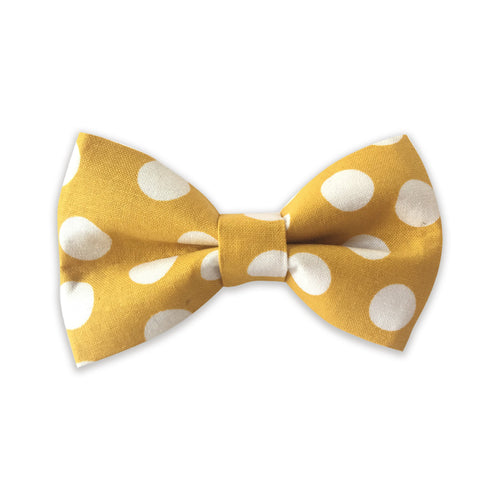 Golden Yellow Polka Dot Bow Tie
