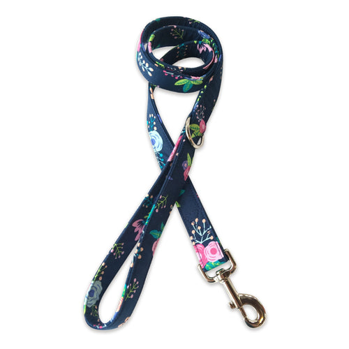 Navy Pop Floral Leash