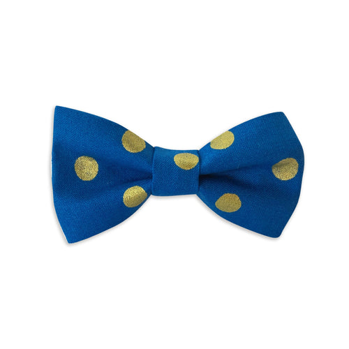 Blue & Gold Polka Dot Bow Tie