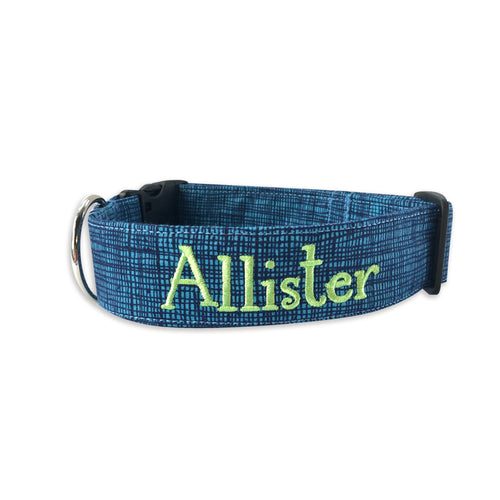 Blue Grunge Dog Collar