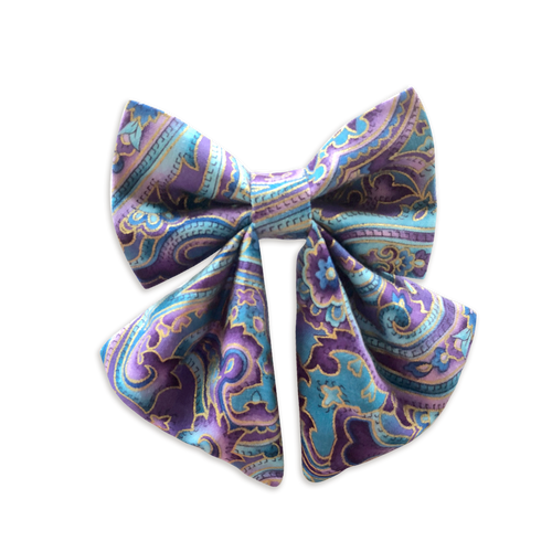 Purple Paisley Girly Bow