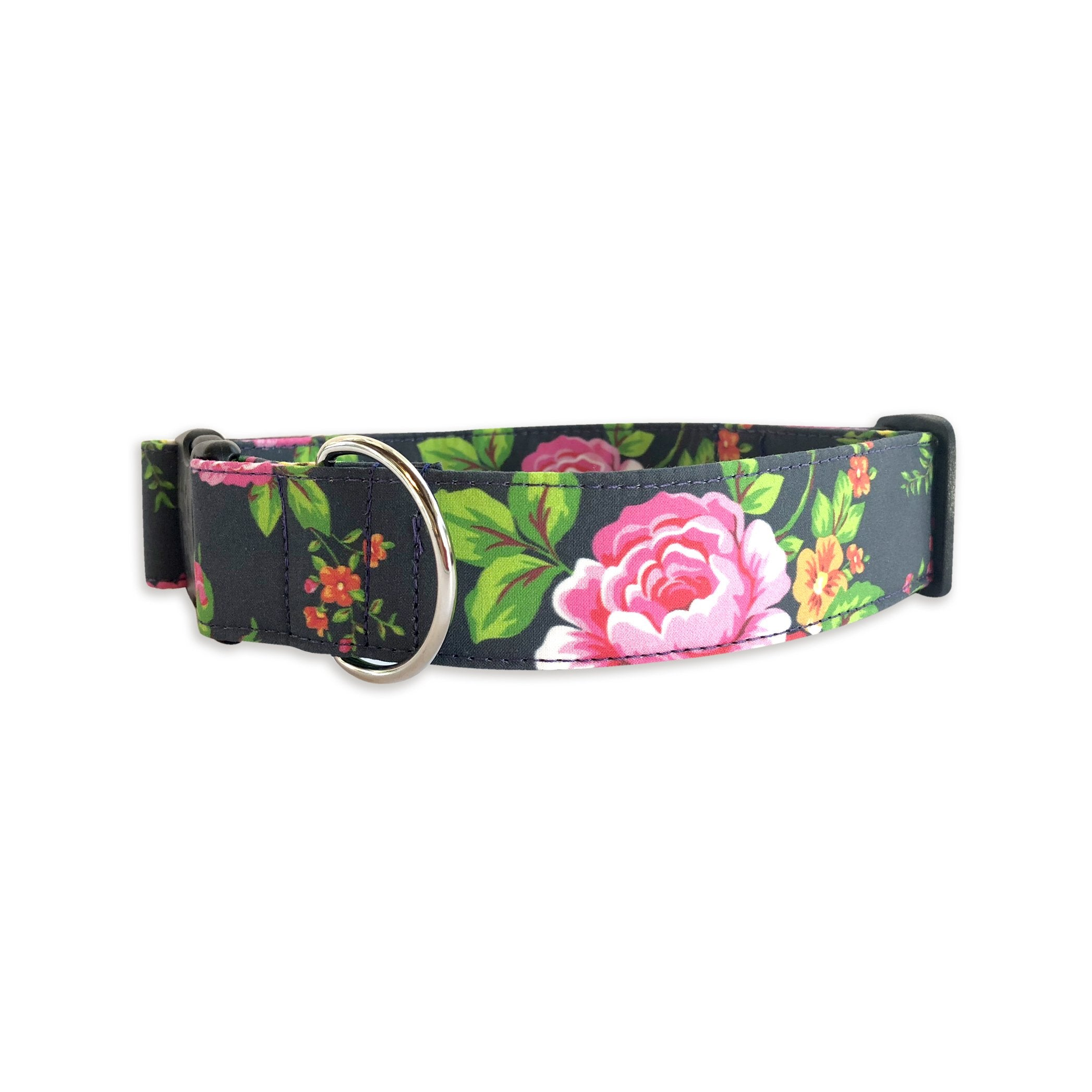Navy & Hot Pink Rose Collar