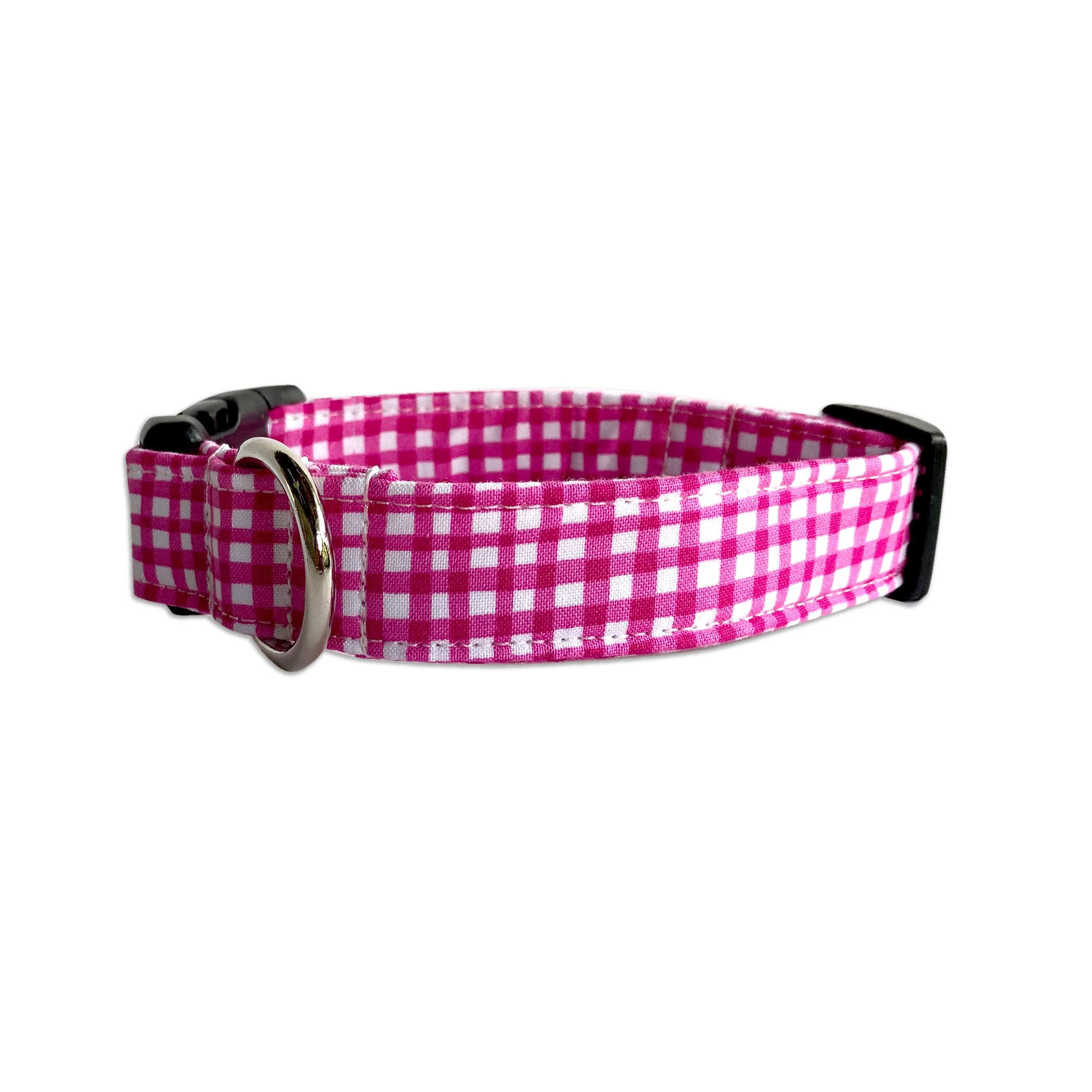 Raspberry Gingham Collar