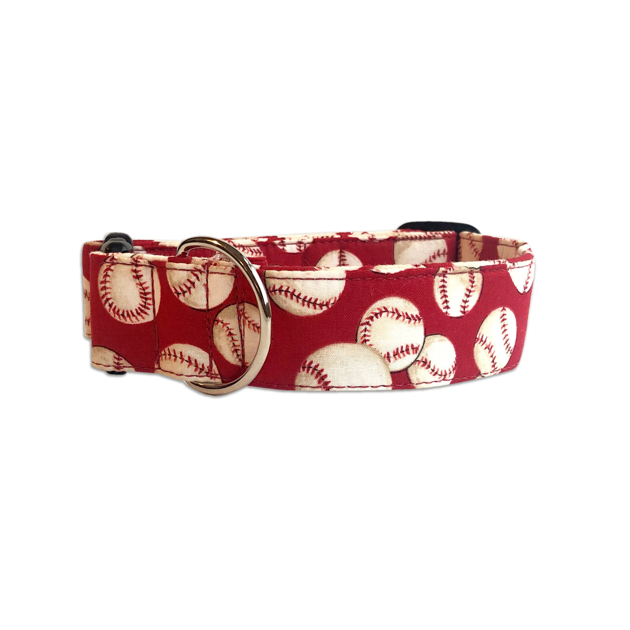 Red Baseball Dog Collar