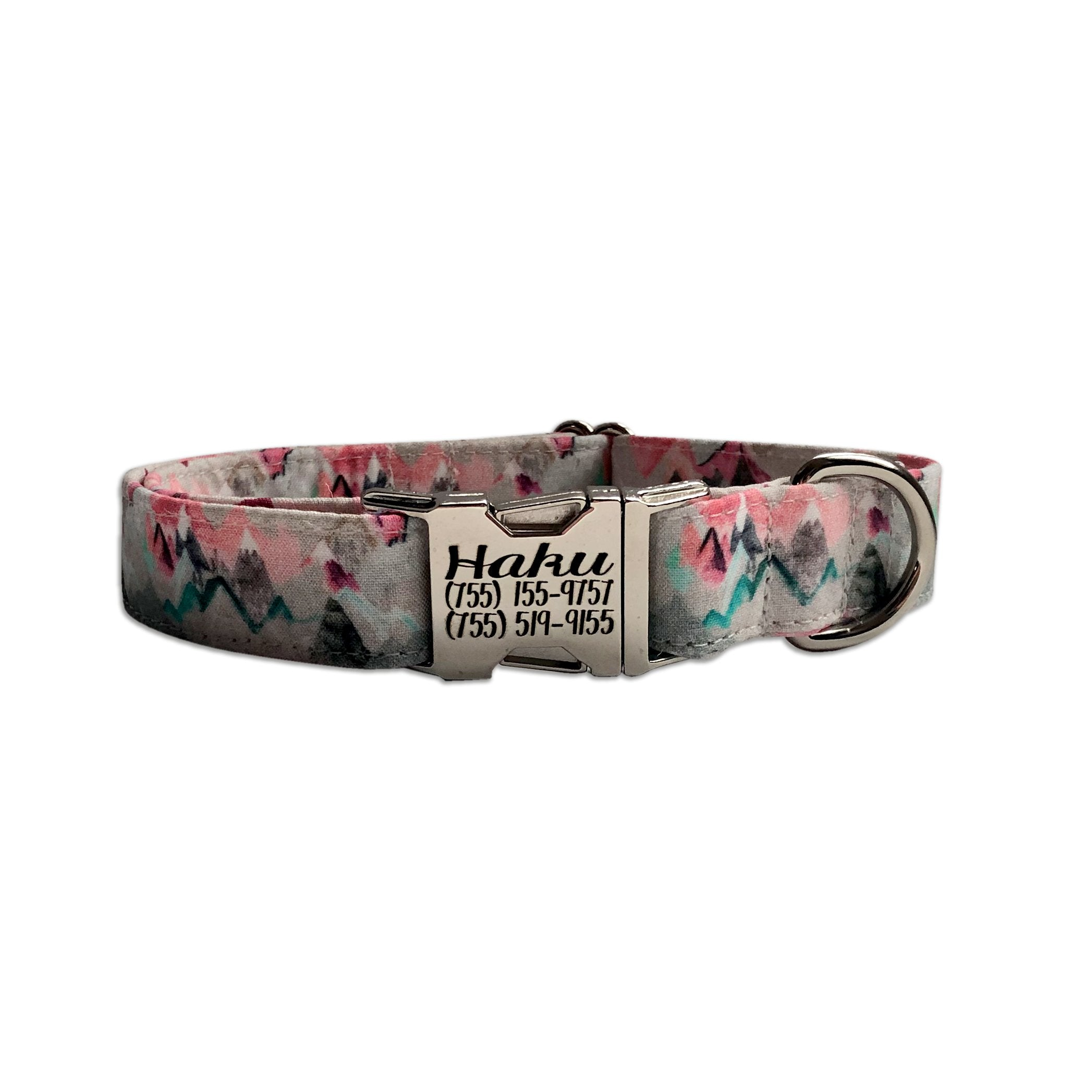 Pink Mountain Personalized Dog Collar