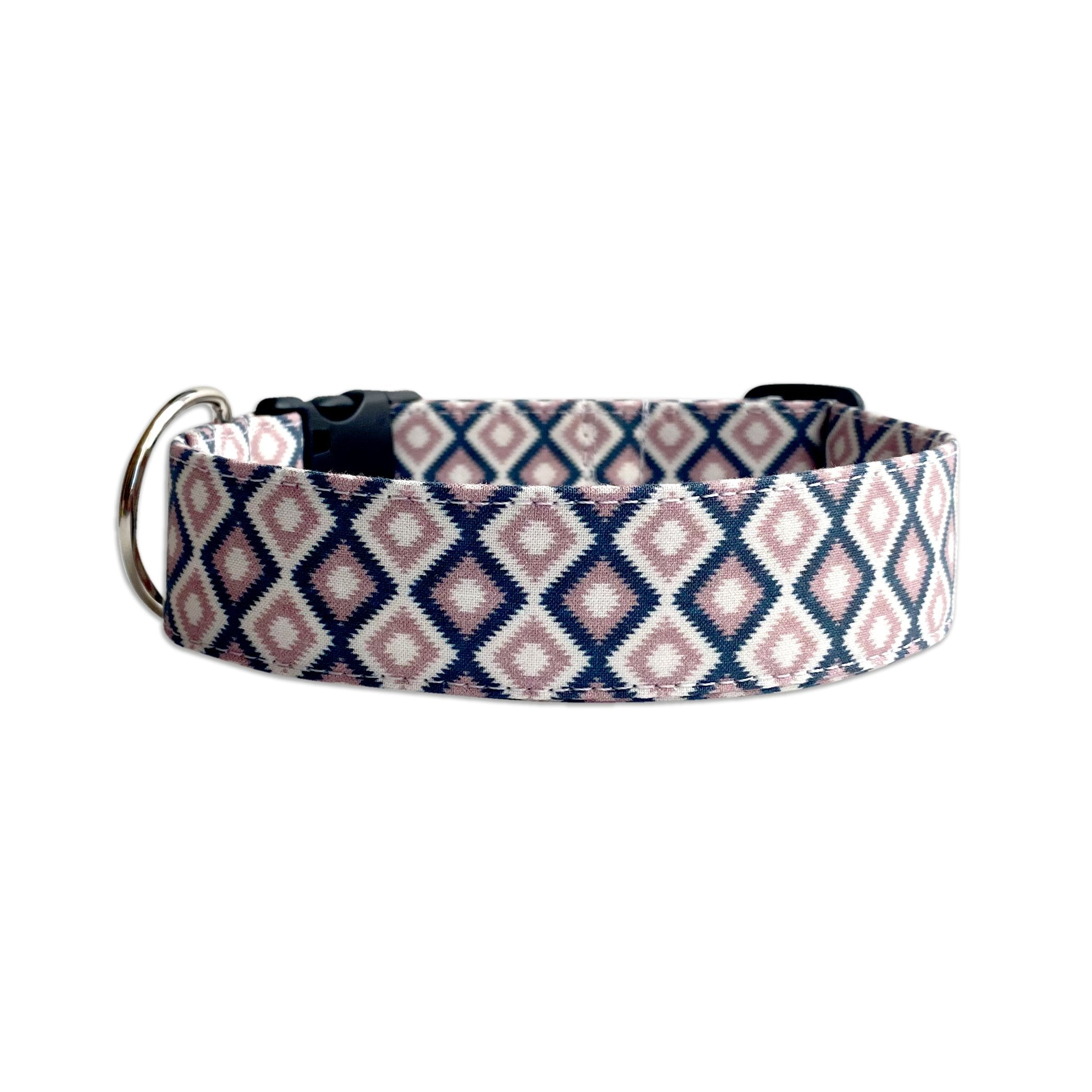 Pink and Navy Aztec Dog Collar