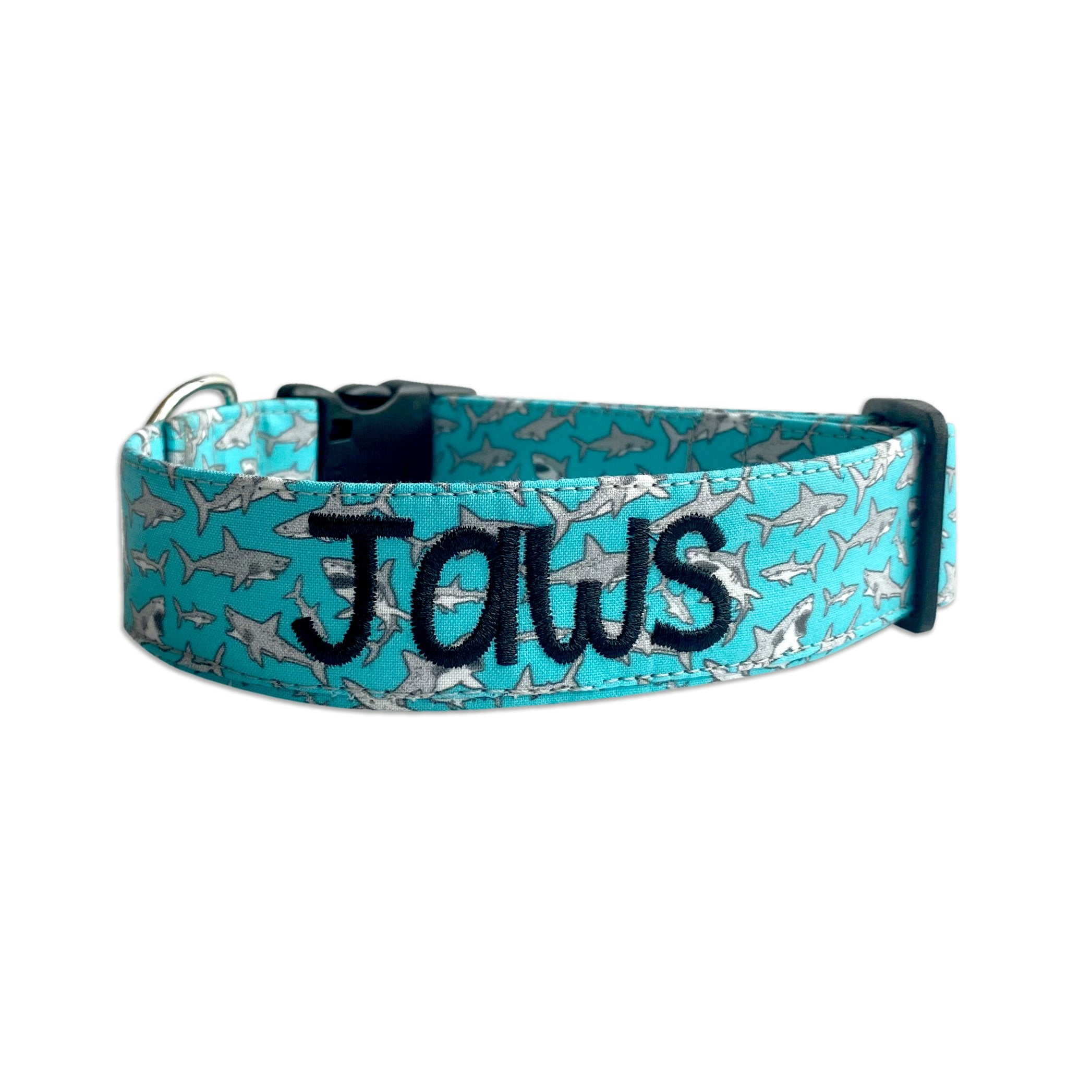 Aqua Sharks Dog Collar
