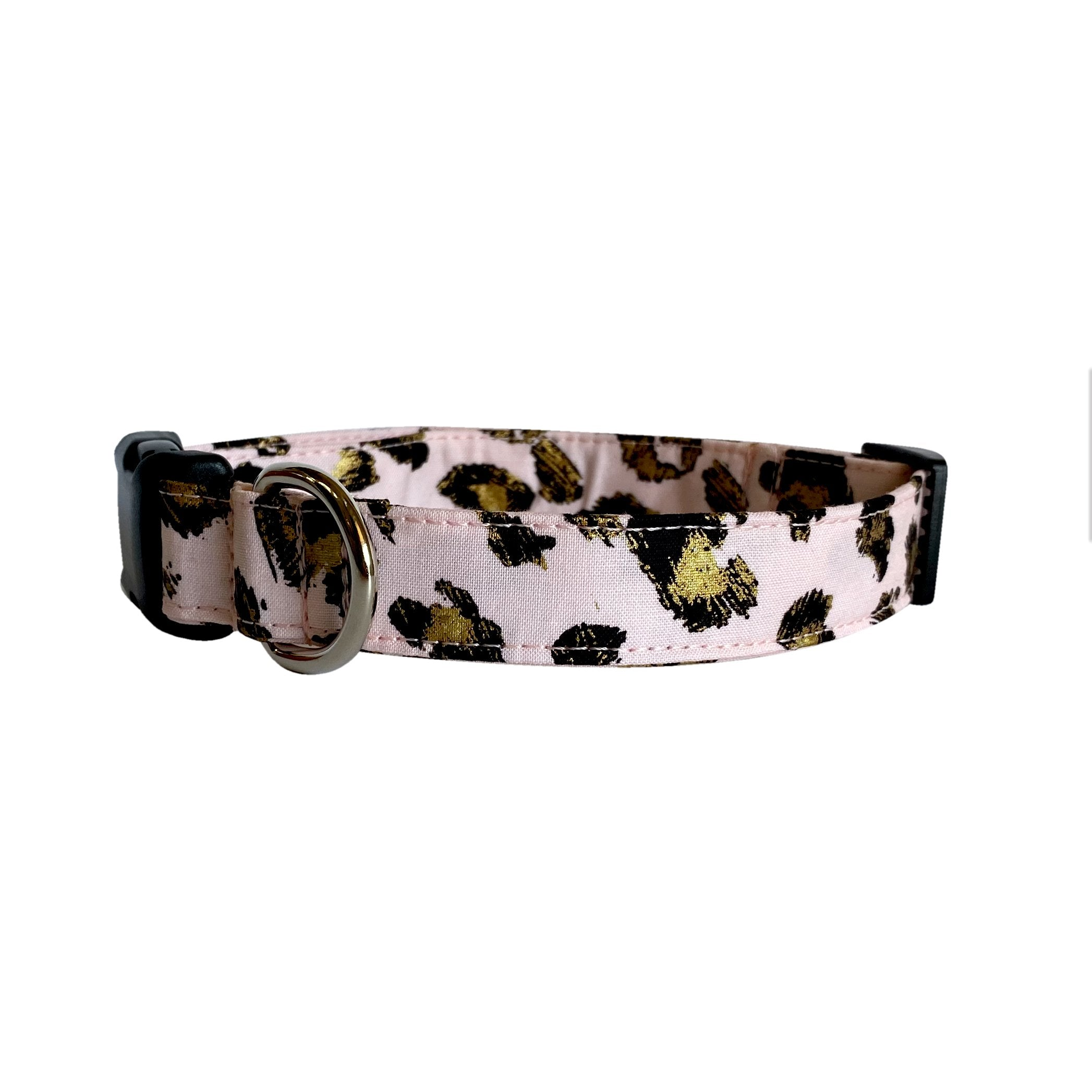 Pink & Gold Leopard Dog Collar