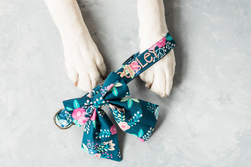 Navy Pop Floral Girly Bow