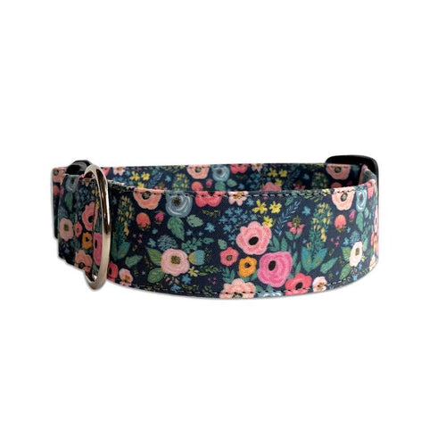 Navy Floral Bouquet Personalized Dog Collar