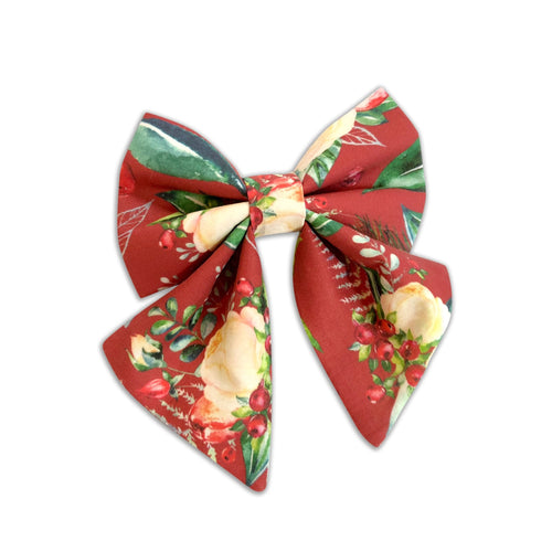 Cranberry Christmas Floral Girly Bow