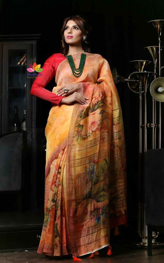 Flaunt the Linen Silk Sarees with Great Confidence and Right Couture