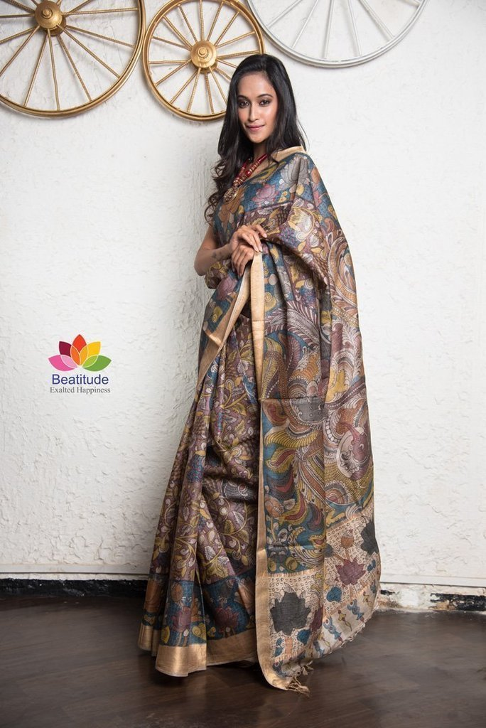 Revel the Glory of Intricate Prints of Kalamkari Silk Sarees with Matching Blouse
