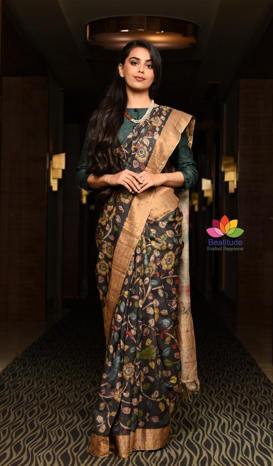 Exquisite and Distinctive Kalamkari Art Style is Painstakingly Executed with Perfection on Sarees