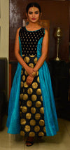 Turquoise Blue and Black  Hancrafted Long Dress