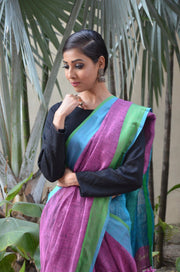 Purple Handwoven Linen Saree-Saree-Vemaka