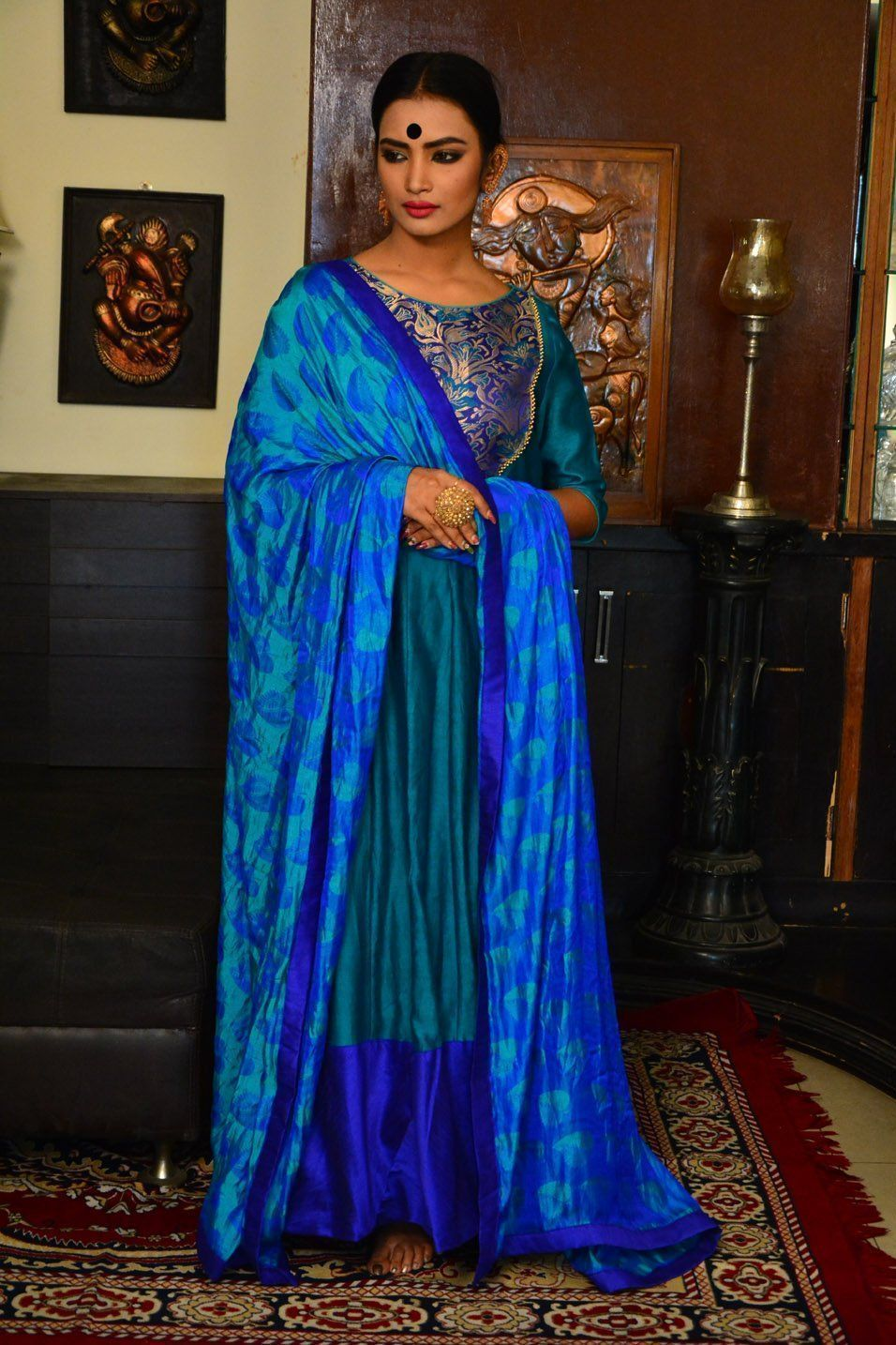 Royal Blue and Turquoise Blue Handcrafted Chanderi Anarkali Set