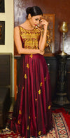 Maroon Handcrafted Baluchari Silk Long Dress