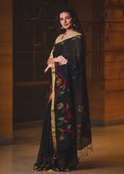 Black Shade Handwoven Zari Linen Jamdani Saree