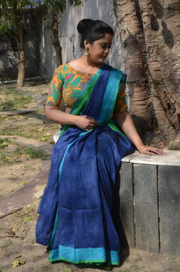 Royal Blue Handwoven Linen Saree-Saree-Vemaka