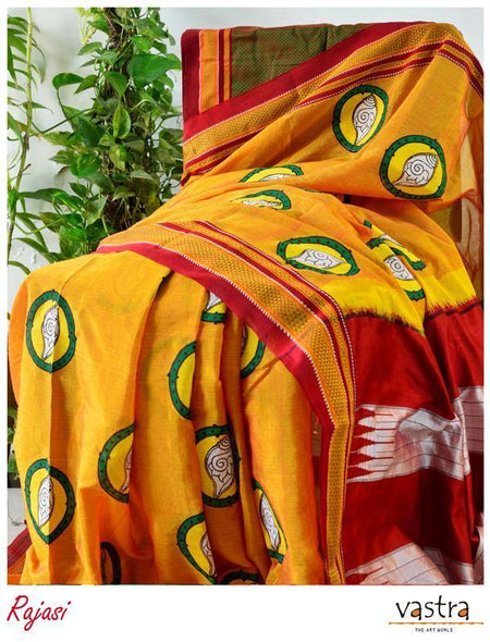 Yellow Hand Block Printed Ilkal Cotton Blended Saree