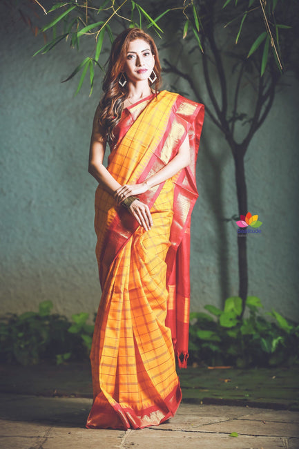 Handwoven Cotton Silk Ilkal Saree-SALE-Reshamwala