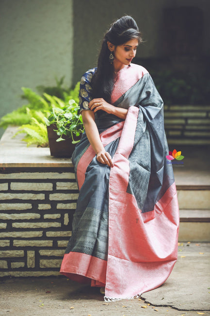 Handwoven Cotton Silk Ikat Gadwal Saree-SALE-Reshamwala