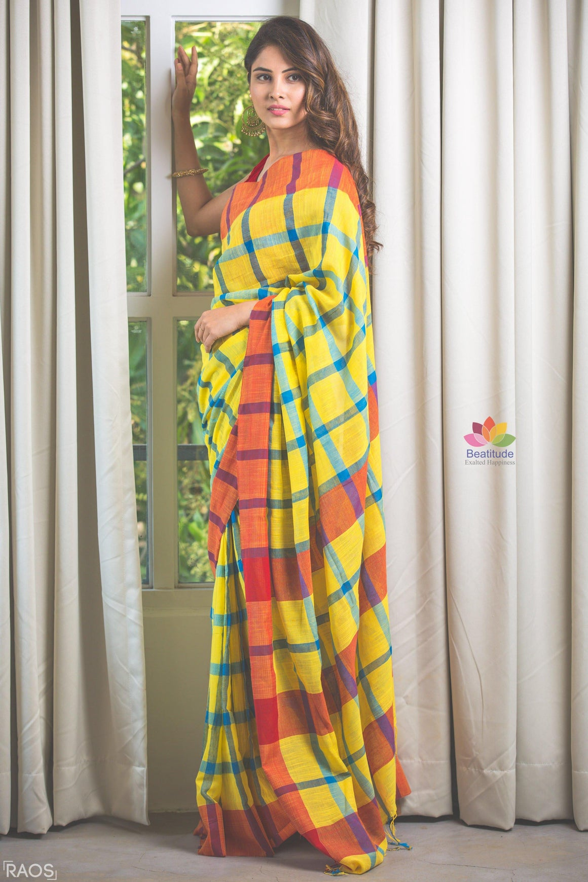 Yellow Checks Handwoven Khadi Cotton Saree