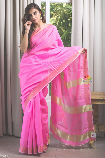 Pink Handwoven Cotton Blended Saree-Elegante Collection-Beatitude Label