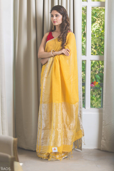 Yellow Handwoven Linen Saree-Elegante Collection-Beatitude Label